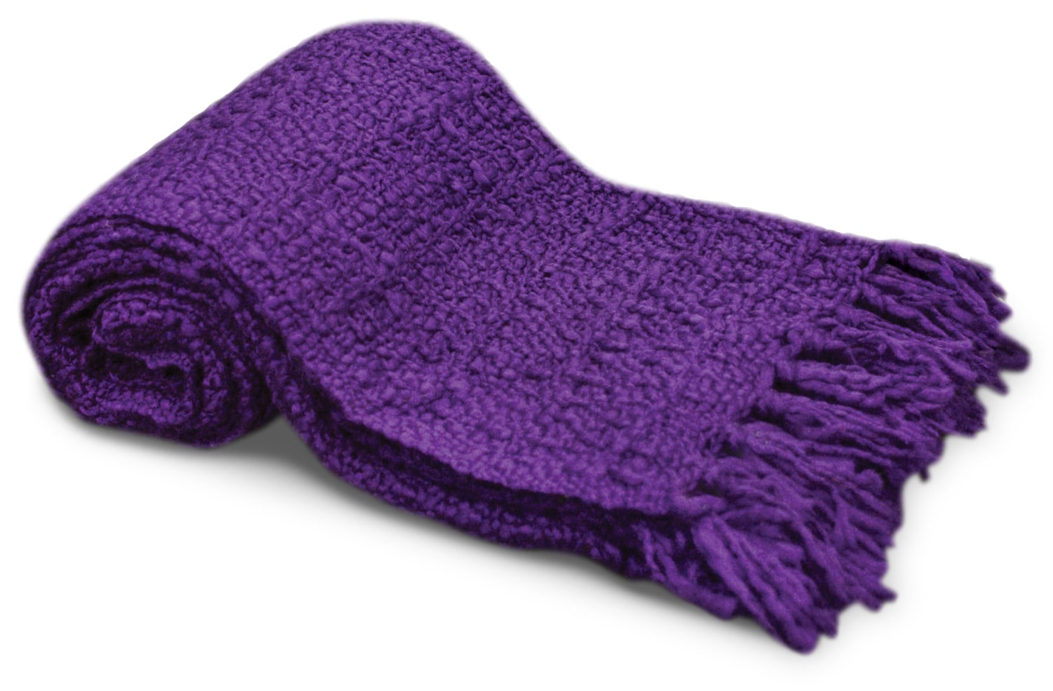Knit Throw with Tassels – Purple