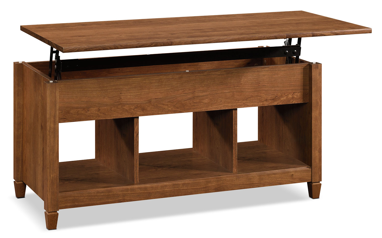 Décoratif et Occasionnel - Table à café Edge Water avec dessus relevable - cerisier rouge-brun