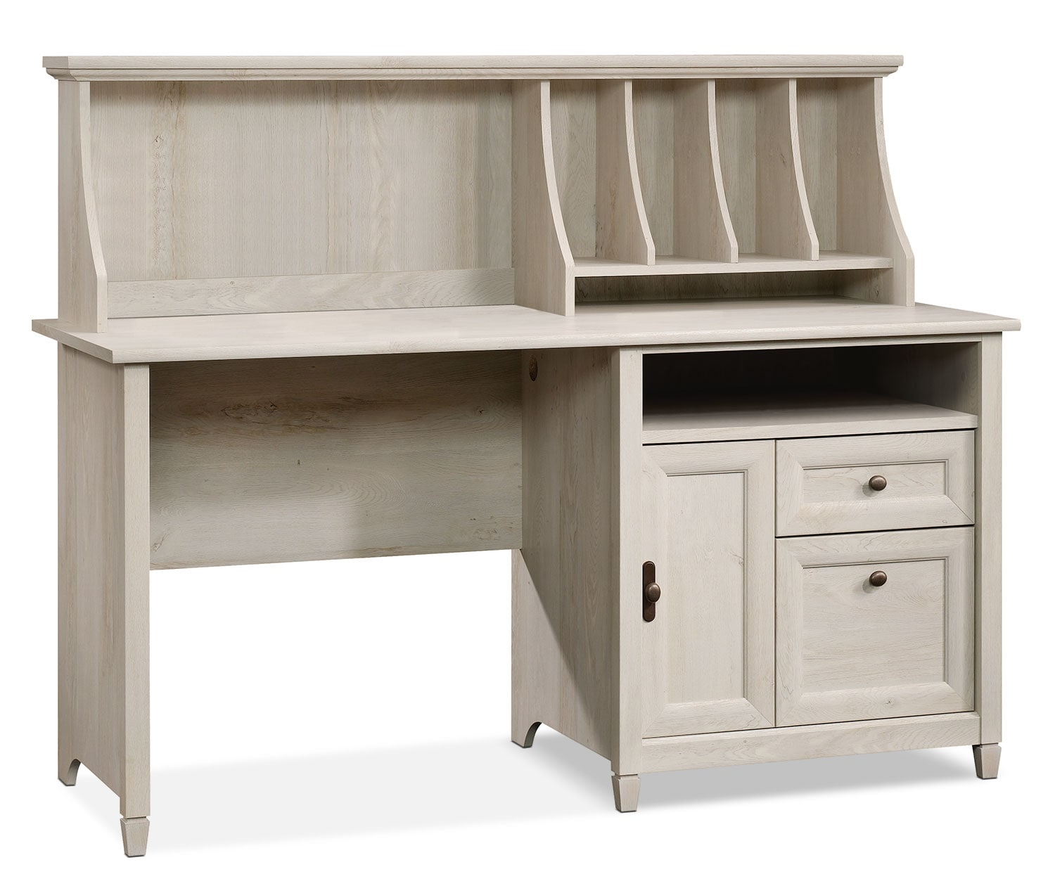 Edge Water Computer Desk with Hutch – Chestnut White