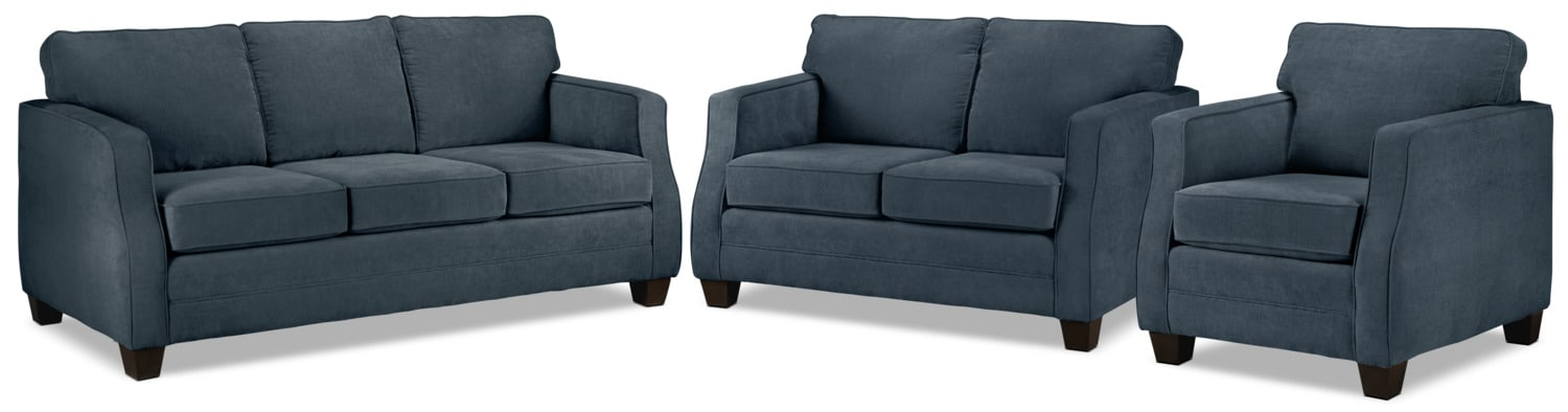 Agnes Sofa, Loveseat and Chair Set - Blue