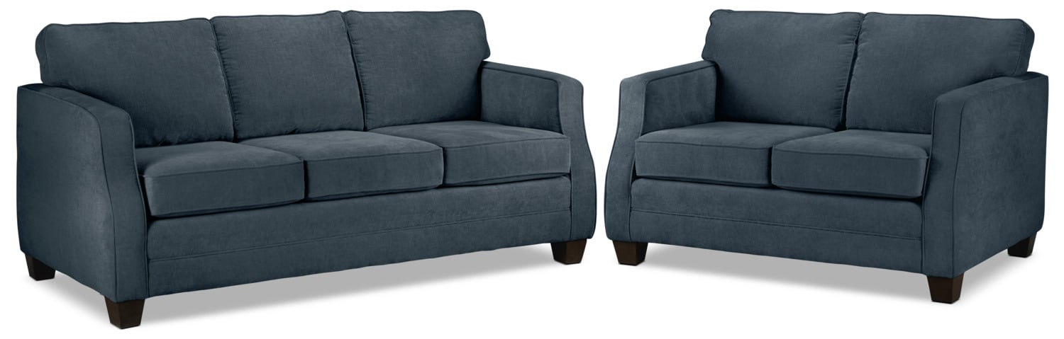 Agnes Sofa and Loveseat Set - Blue
