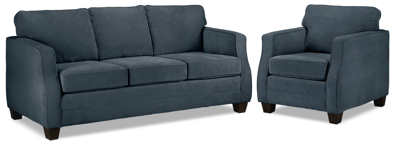 Agnes Sofa and Chair Set - Blue