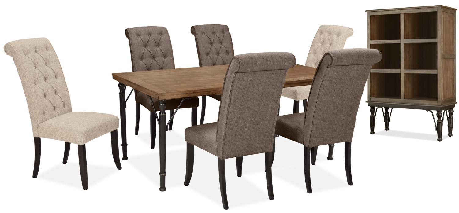 Dining Room Furniture - Tripton 8-Piece Mix 'N' Match Dining Package – Graphite