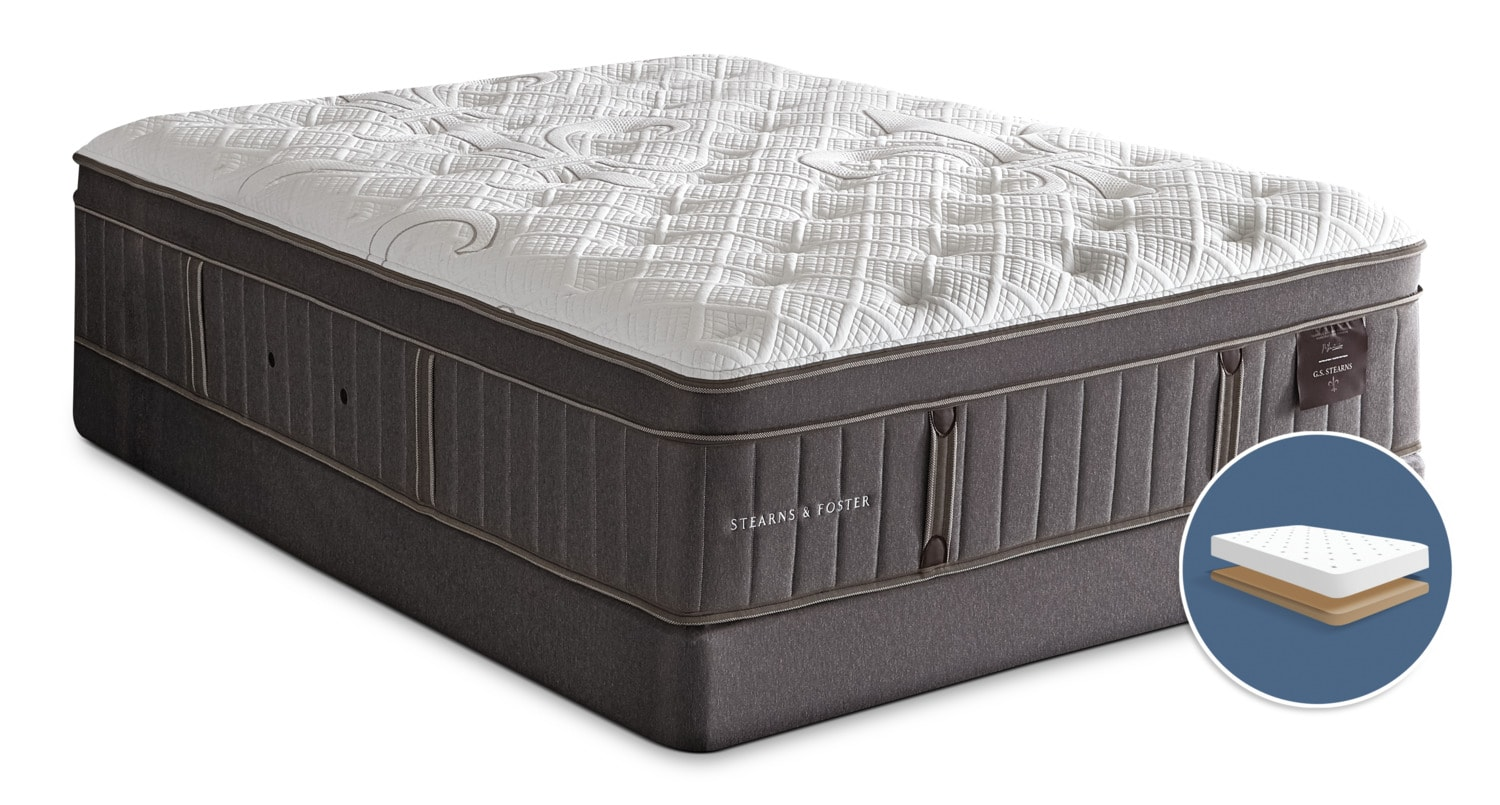 Mattresses and Bedding - Stearns & Foster Marina Bay Euro-Top Plush Low-Profile King Mattress Set