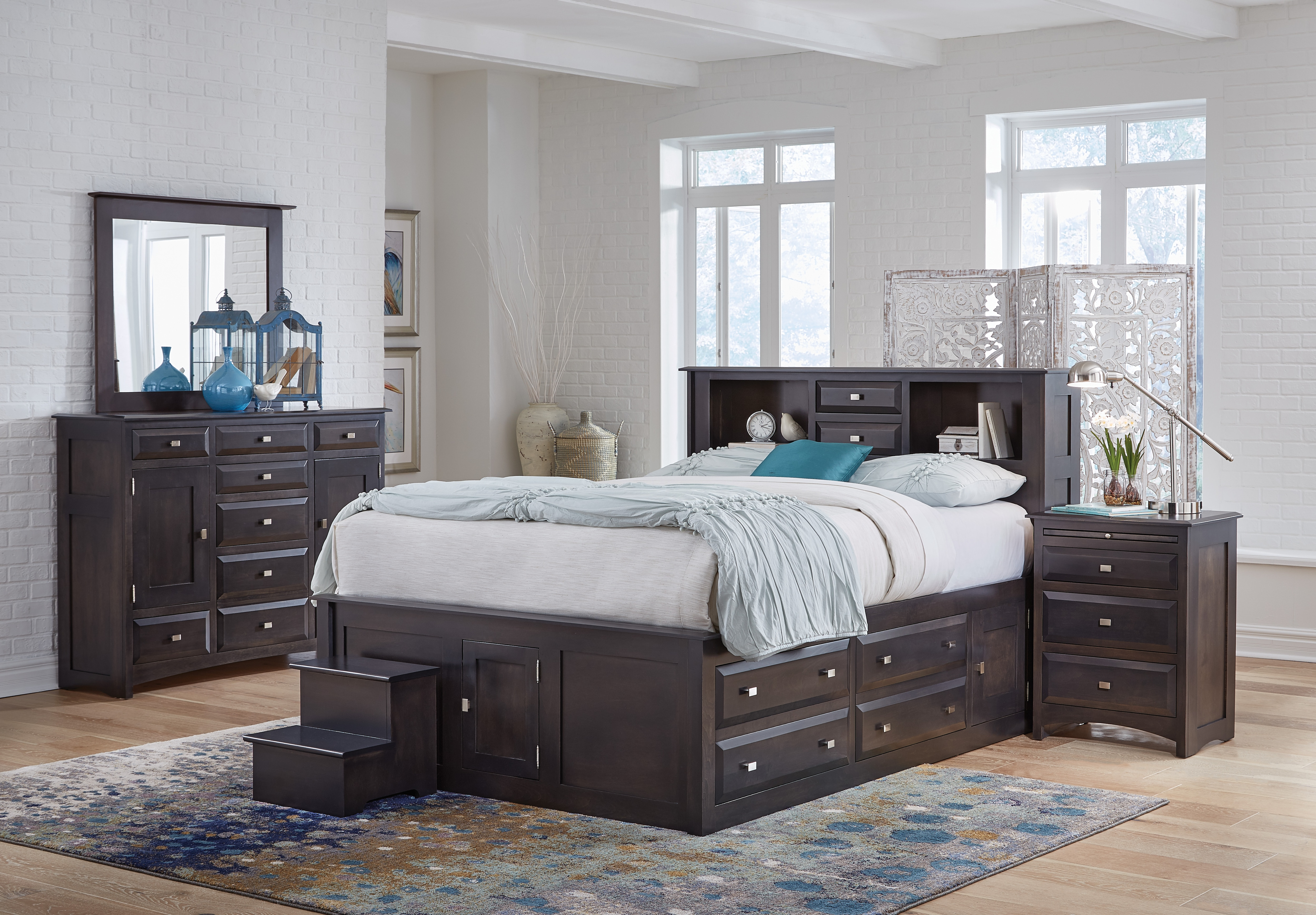 Simplicity II 4pc King Bookcase Bed Set