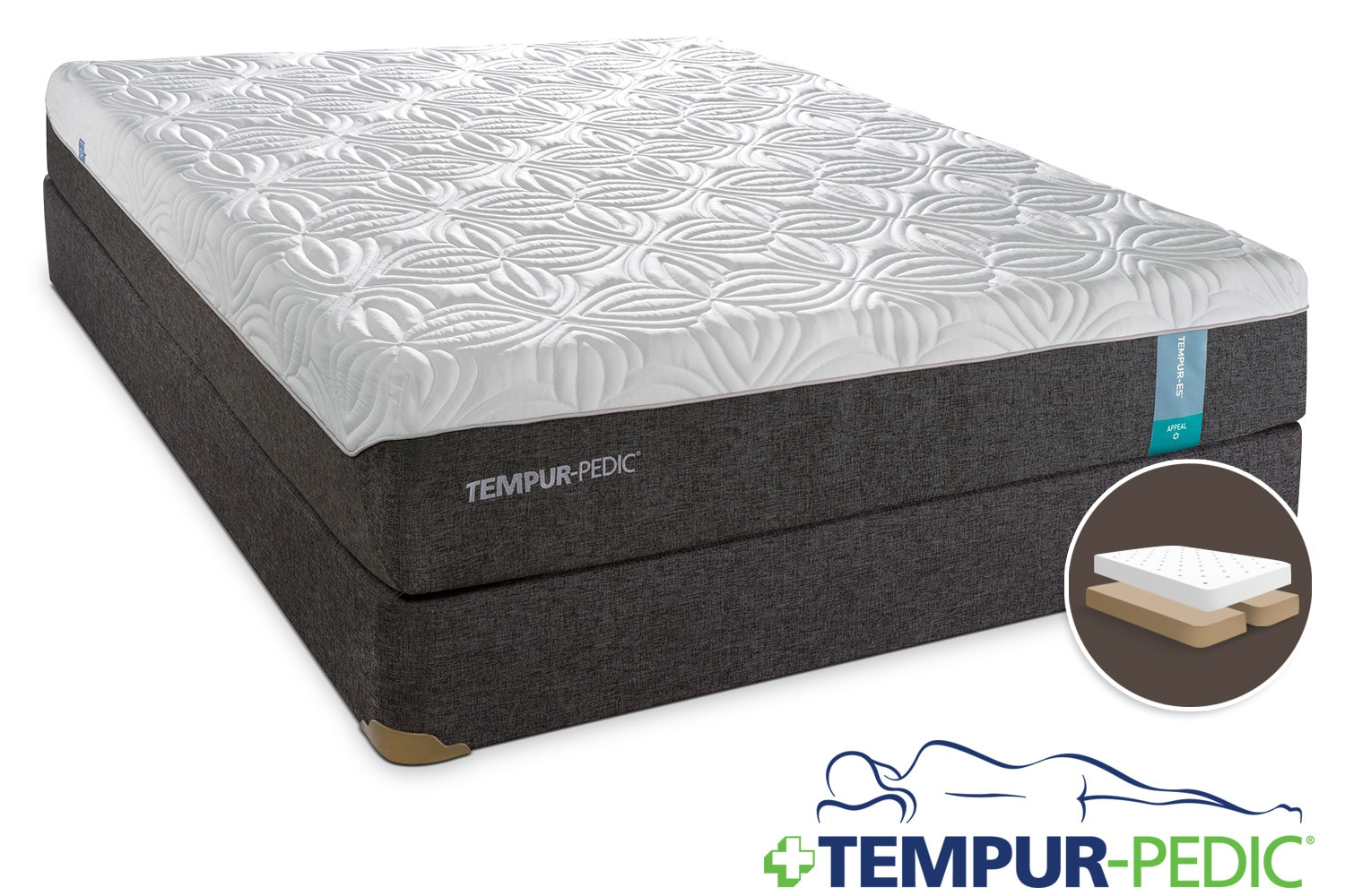Tempur-Pedic Appeal 2.0 Cushion Firm King Mattress and Split Boxspring Set