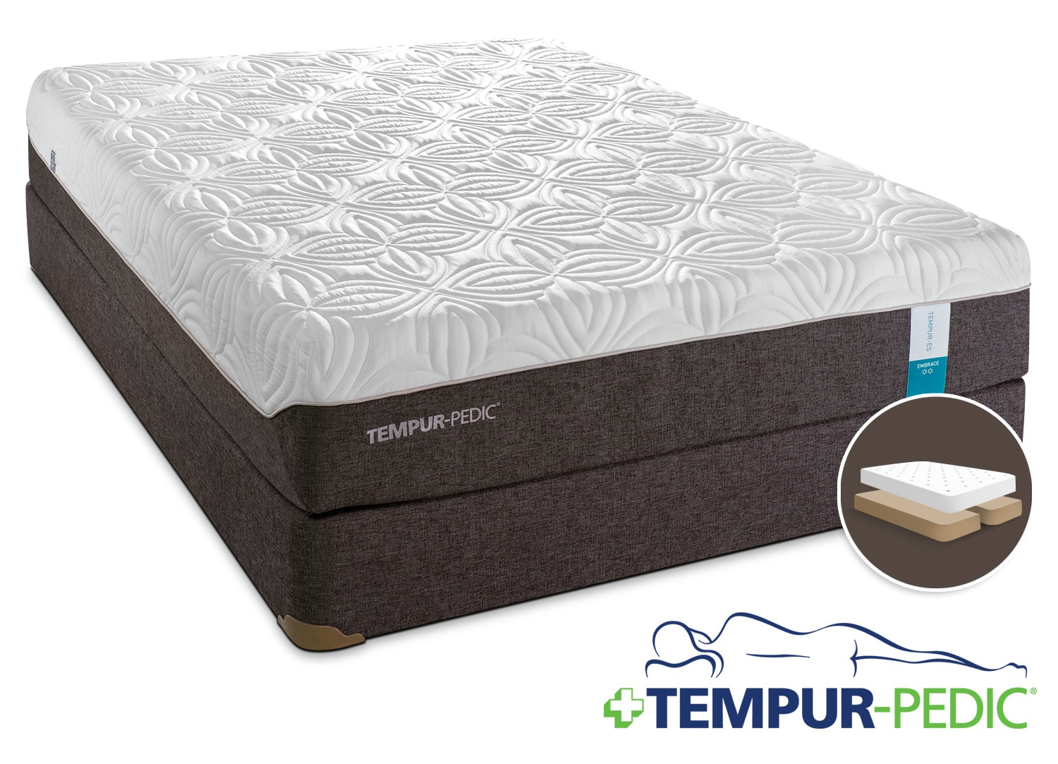 Tempur Pedic Embrace 2 0 Plush King Mattress And Split Boxspring Set Leon 39 S
