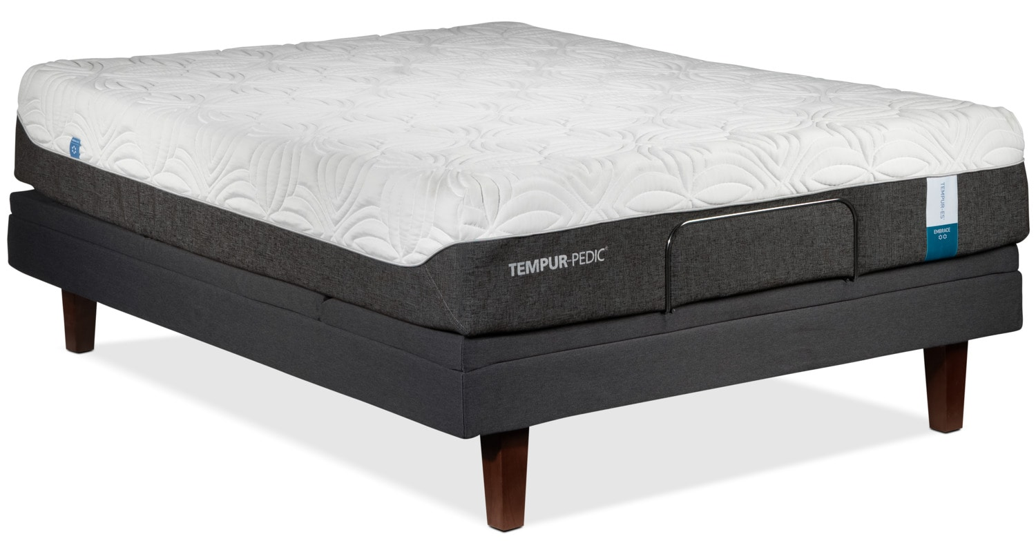 Tempur Pedic Embrace 2 0 Plush King Mattress And Split Complete Adjustable Base Set Leon 39 S