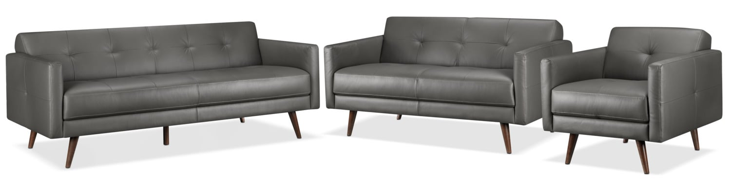 Giovanna Sofa, Loveseat and Chair Set - Grey