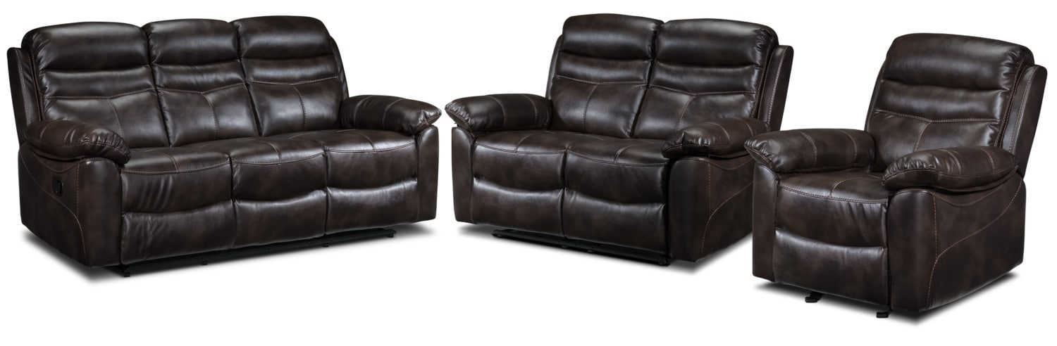 Devon Reclining Sofa, Reclining Loveseat and Recliner Set - Brown