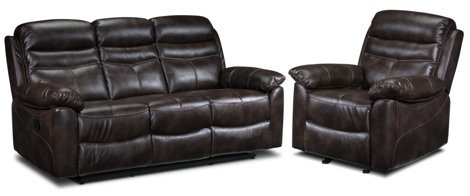 Living Room Furniture - Devon Reclining Sofa and Recliner Set - Brown