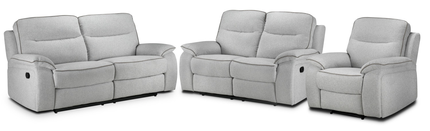 Latham Reclining Sofa, Reclining Loveseat and Recliner Set - Frost