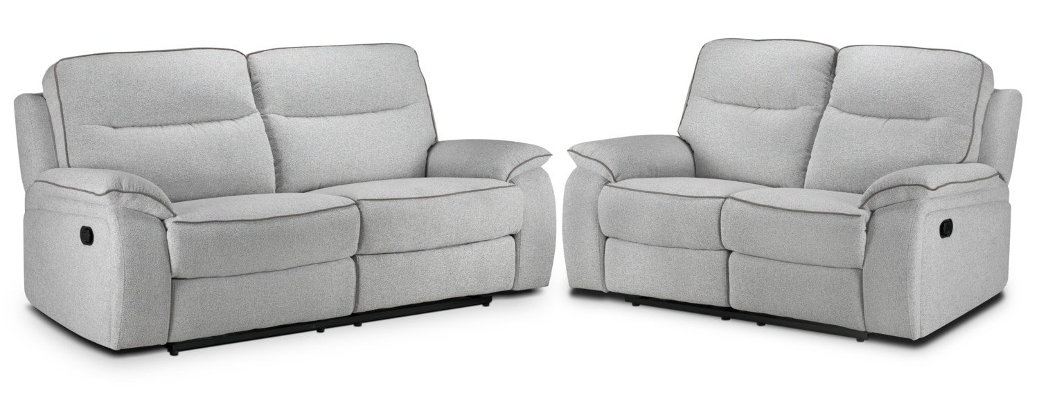 Latham Reclining Sofa and Reclining Loveseat Set - Frost