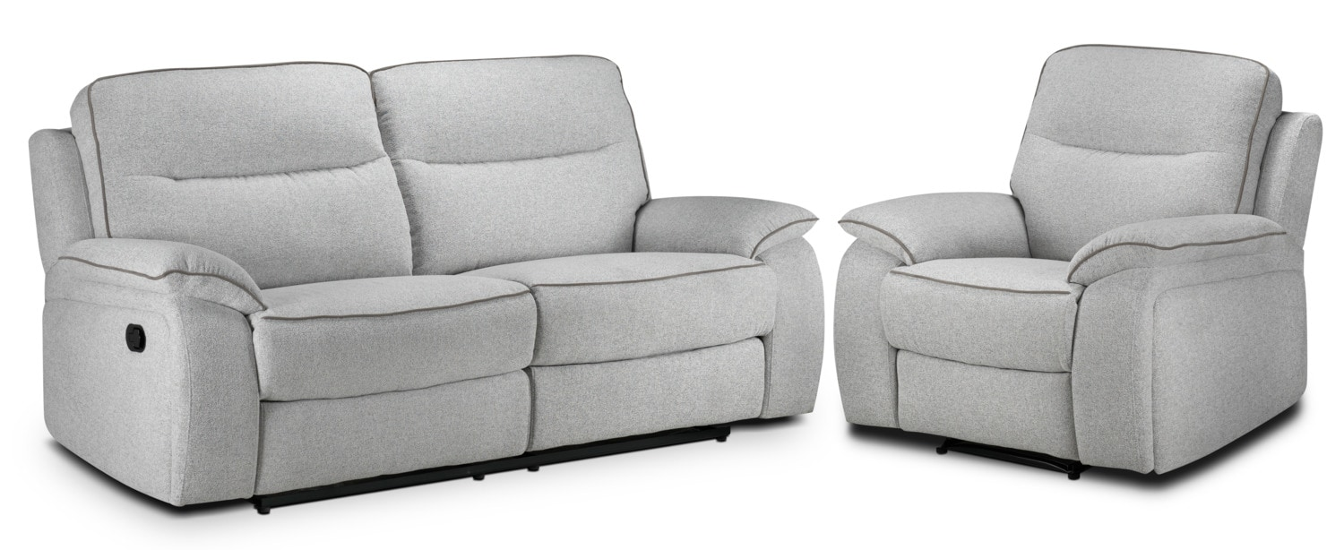 Latham Reclining Sofa and Recliner Set - Frost