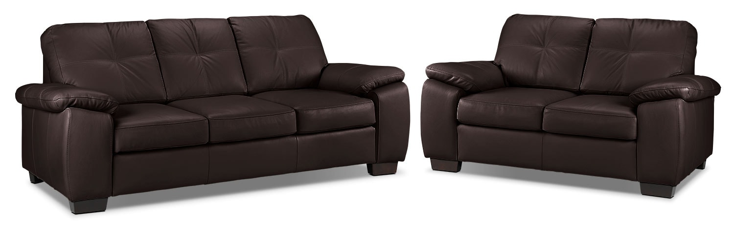Naples Sofa and Loveseat Set - Chocolate