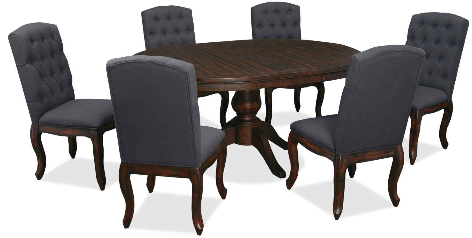 Trudell 7-Piece Round Dining Package with Upholstered Chairs