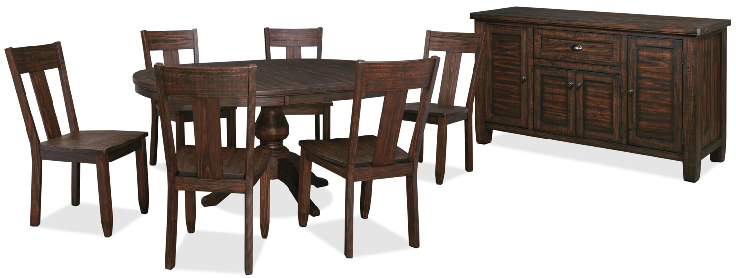 Dining Room Furniture - Trudell 8-Piece Round Dining Package