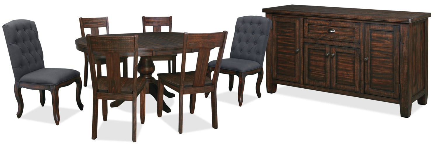Dining Room Furniture - Trudell 8-Piece Round Mix 'N' Match Dining Package