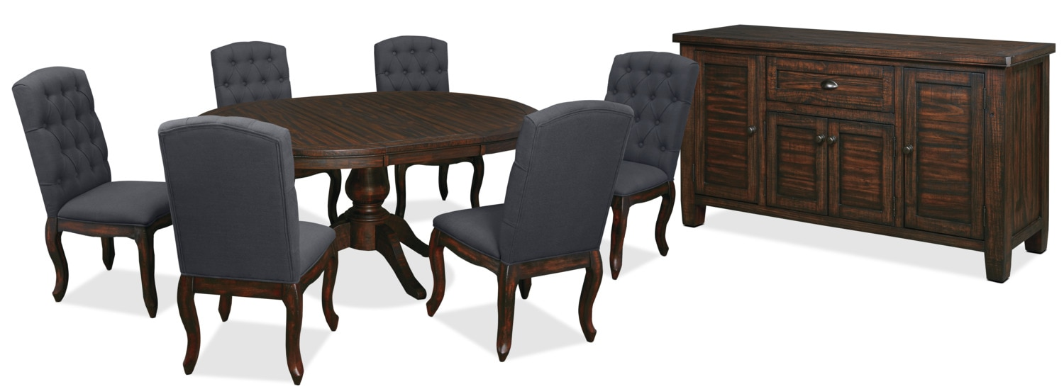 Dining Room Furniture - Trudell 8-Piece Round Dining Package with Upholstered Chairs