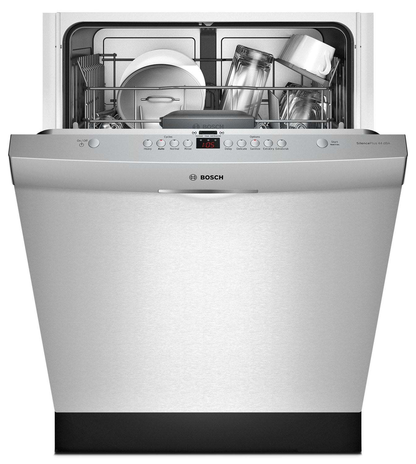 Bosch 300 Series Scoop Handle Built-In Dishwasher with Third Rack – SHS63VL5UC