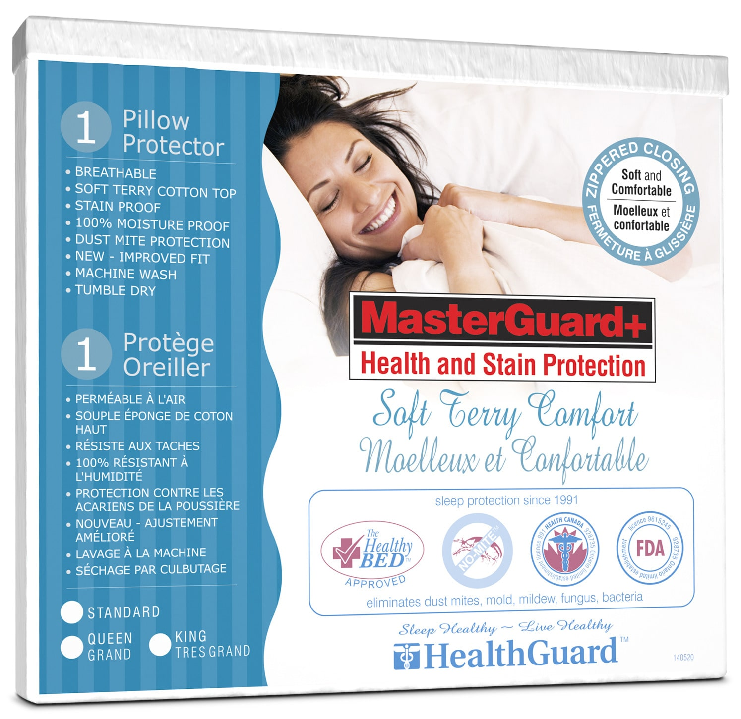 Mattresses and Bedding - Standard Platinum Soft Terry Pillow Protector - Single