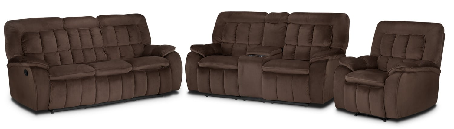 Wisconsin Reclining Sofa, Loveseat and Recliner Set - Dark Brown