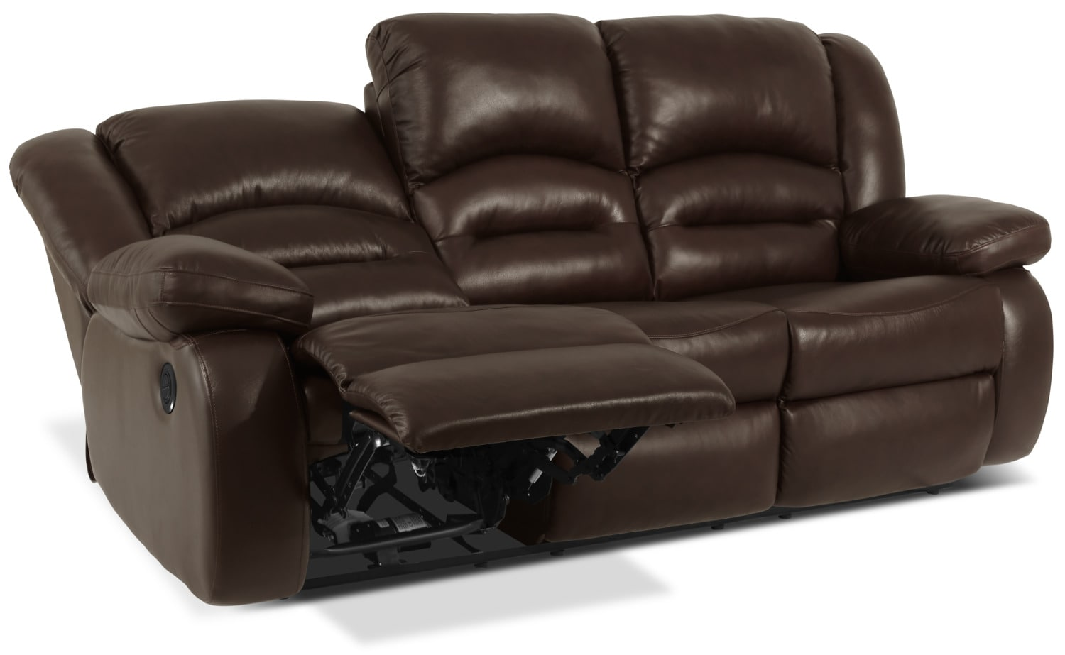 Toreno genuine leather power reclining sofa brown the for Real leather sofas