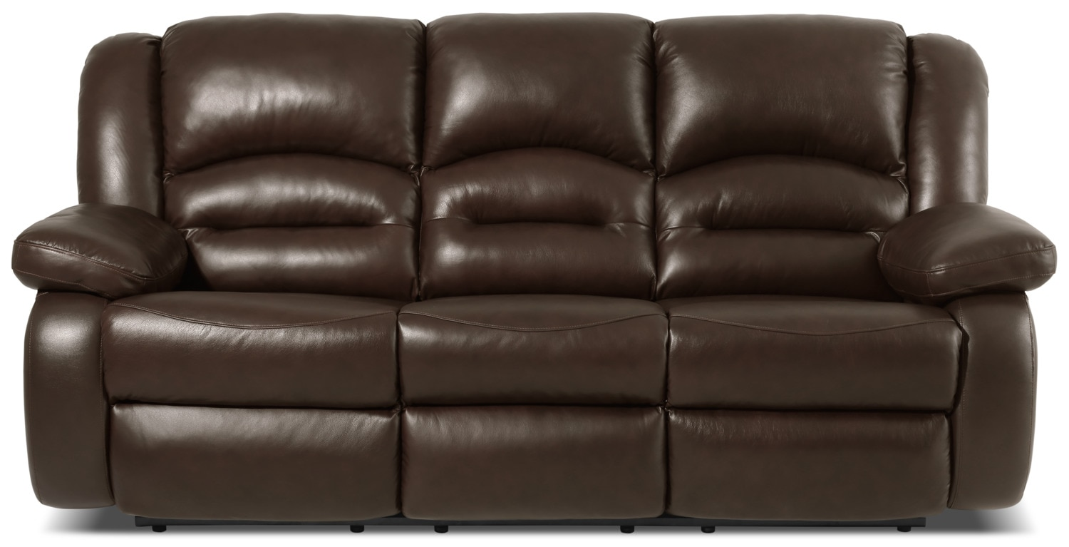Living Room Furniture - Toreno Genuine Leather Power Reclining Sofa – Brown