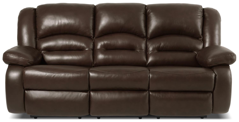 Living Room Furniture - Toreno Genuine Leather Power Reclining Sofa – Brown