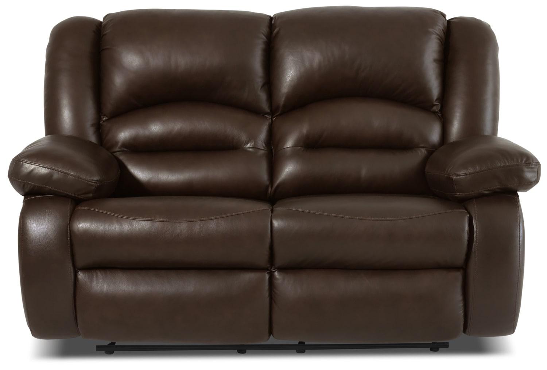 Living Room Furniture - Toreno Genuine Leather Reclining Loveseat – Brown
