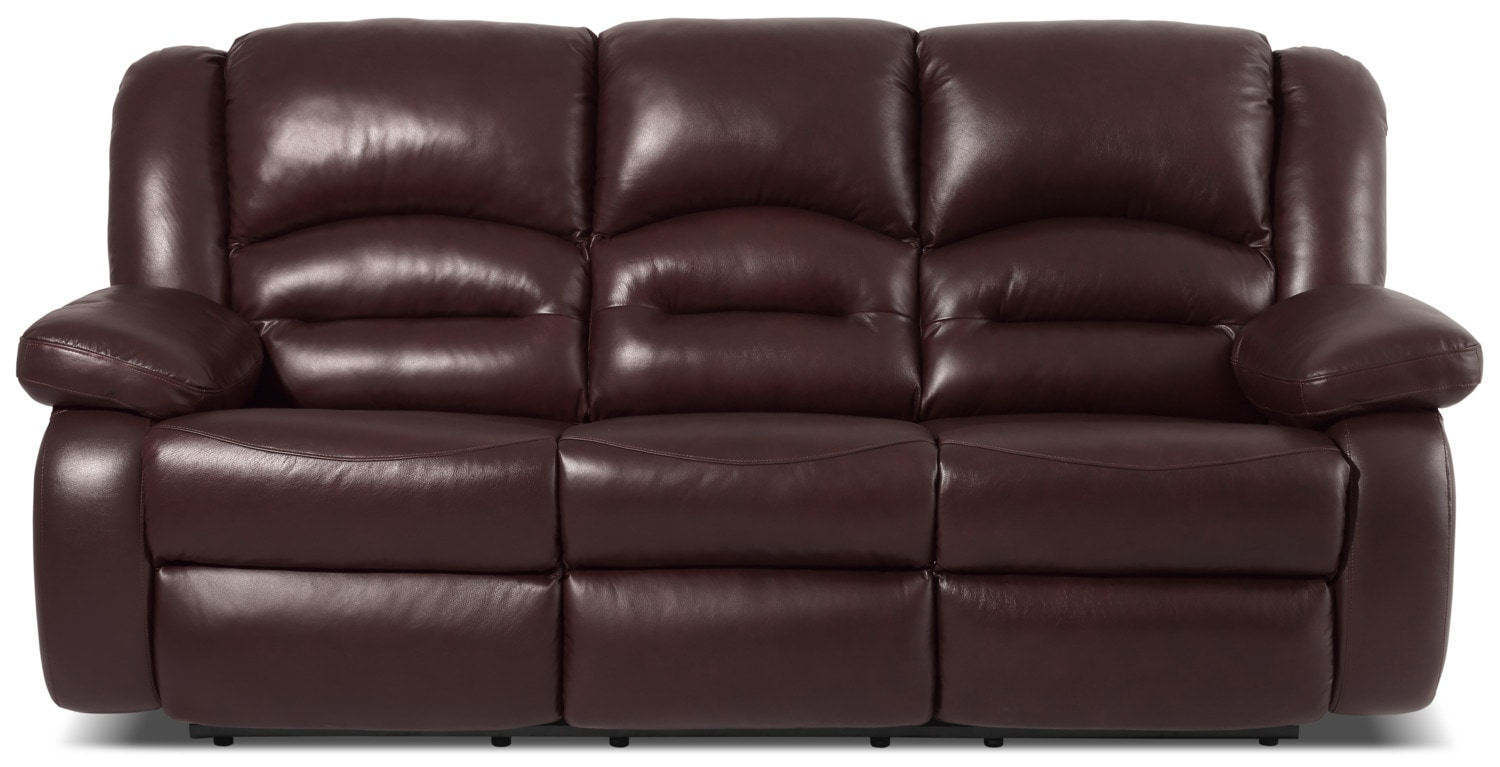 Toreno Genuine Leather Reclining Sofa – Burgundy