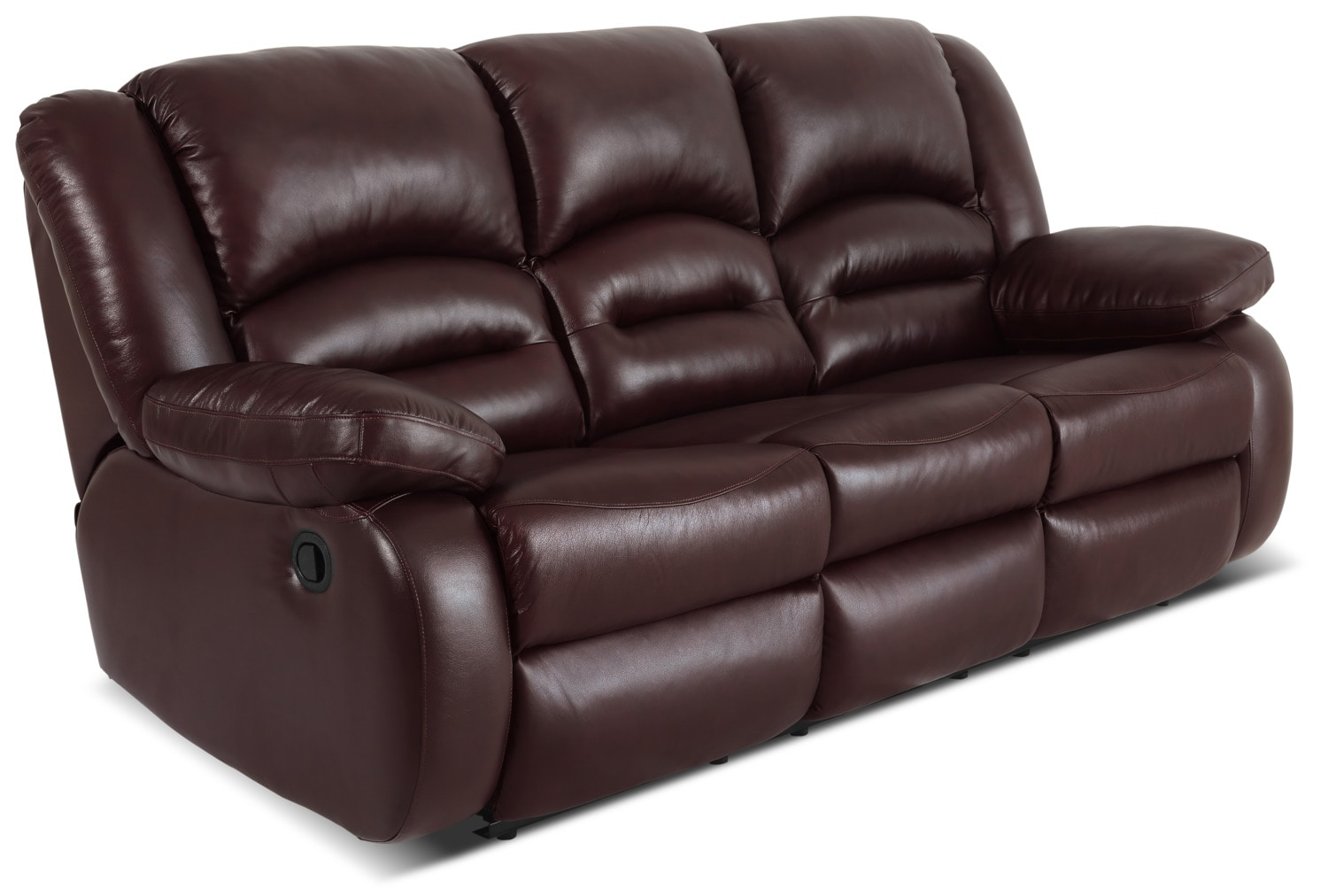Toreno genuine leather reclining sofa burgundy the brick Burgundy leather loveseat