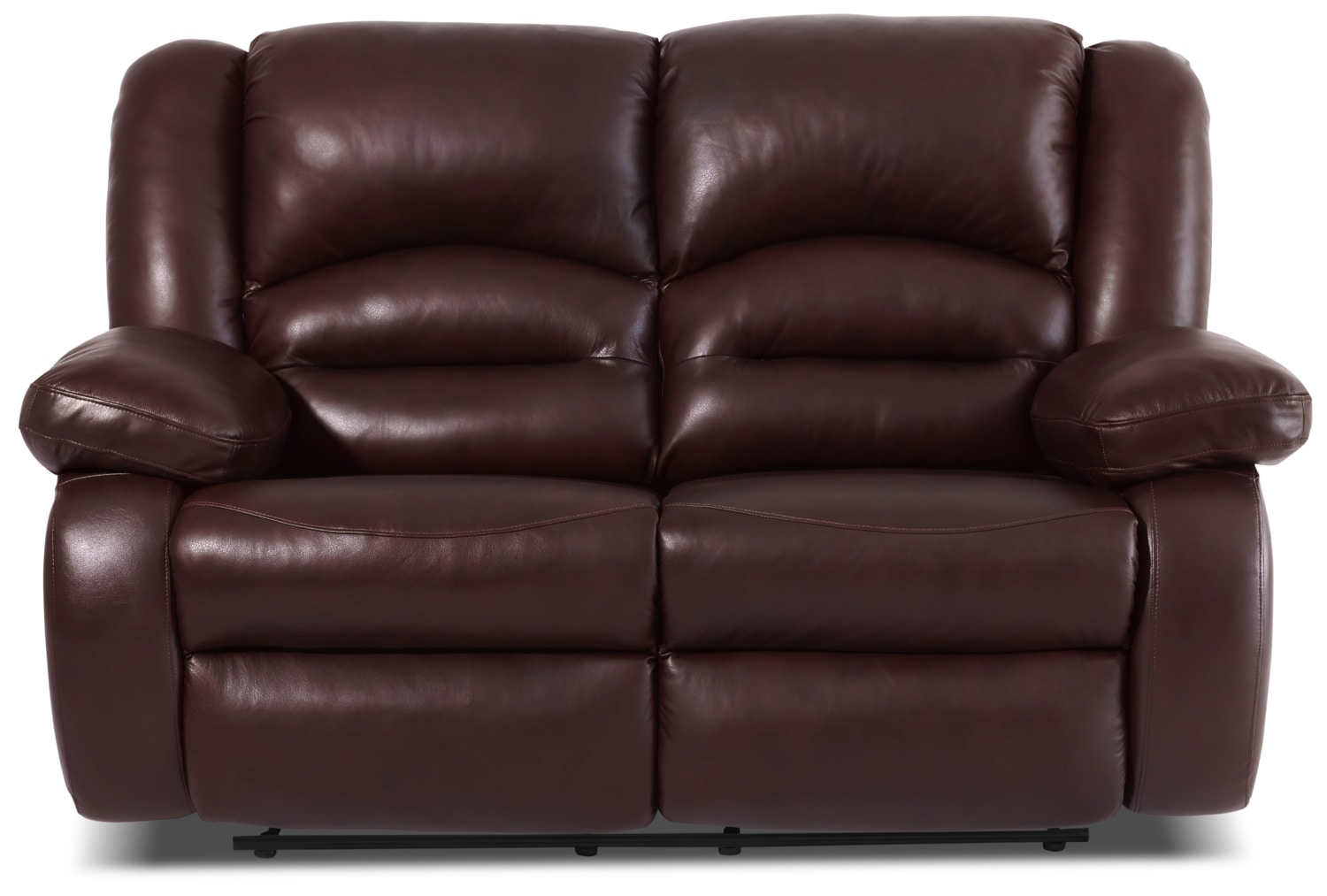 Toreno Genuine Leather Reclining Loveseat – Burgundy