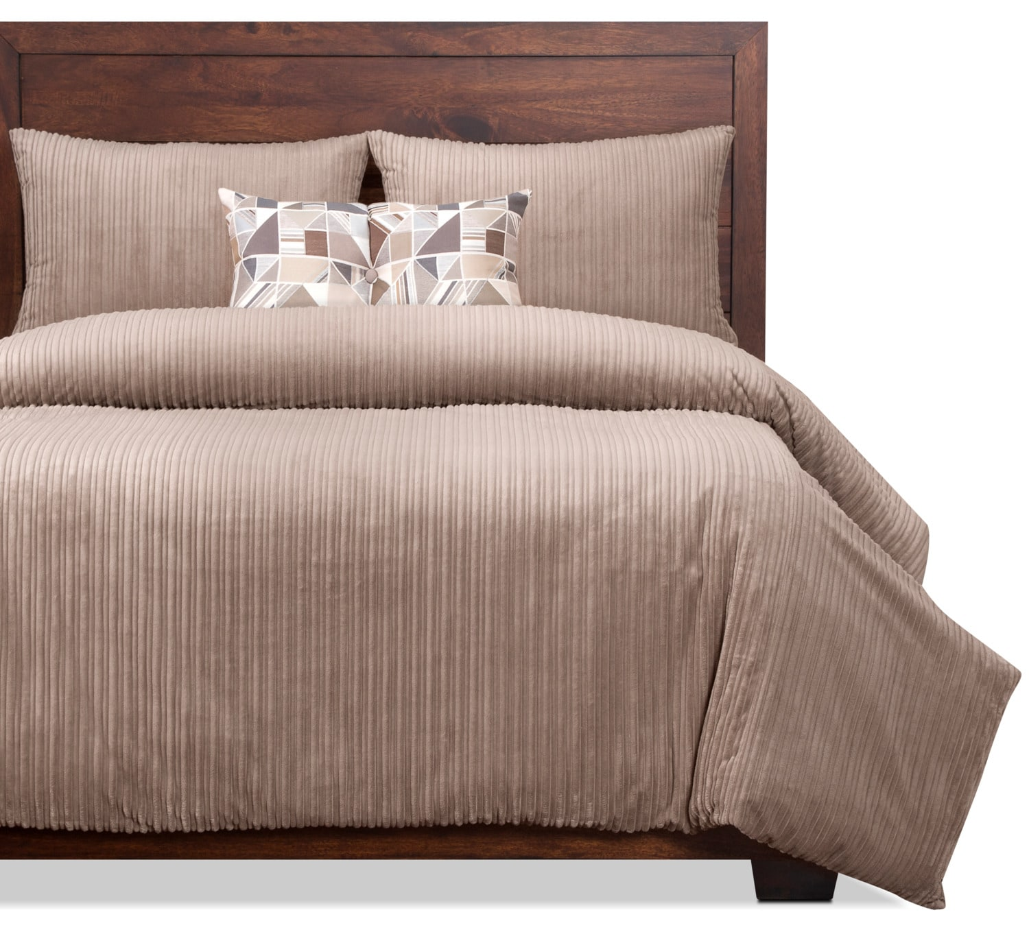 Mattresses and Bedding - Downy Taupe 3-Piece Twin Duvet Cover Set