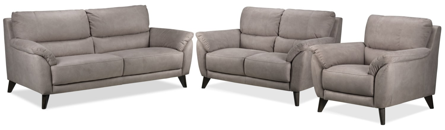 Stafford Sofa, Loveseat and Chair Set - Silver Grey