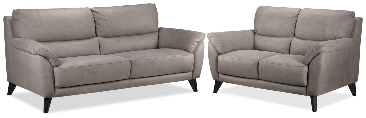 Stafford Sofa and Loveseat Set - Silver Grey