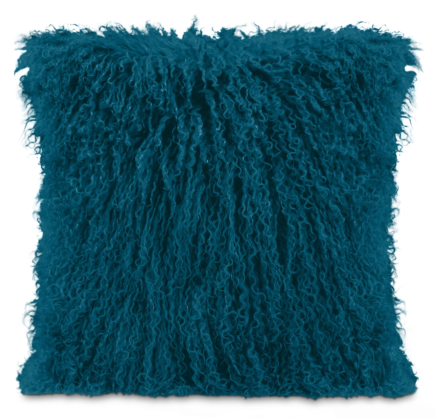 Accent and Occasional Furniture - Mongolian Sheepskin Accent Pillow – Teal