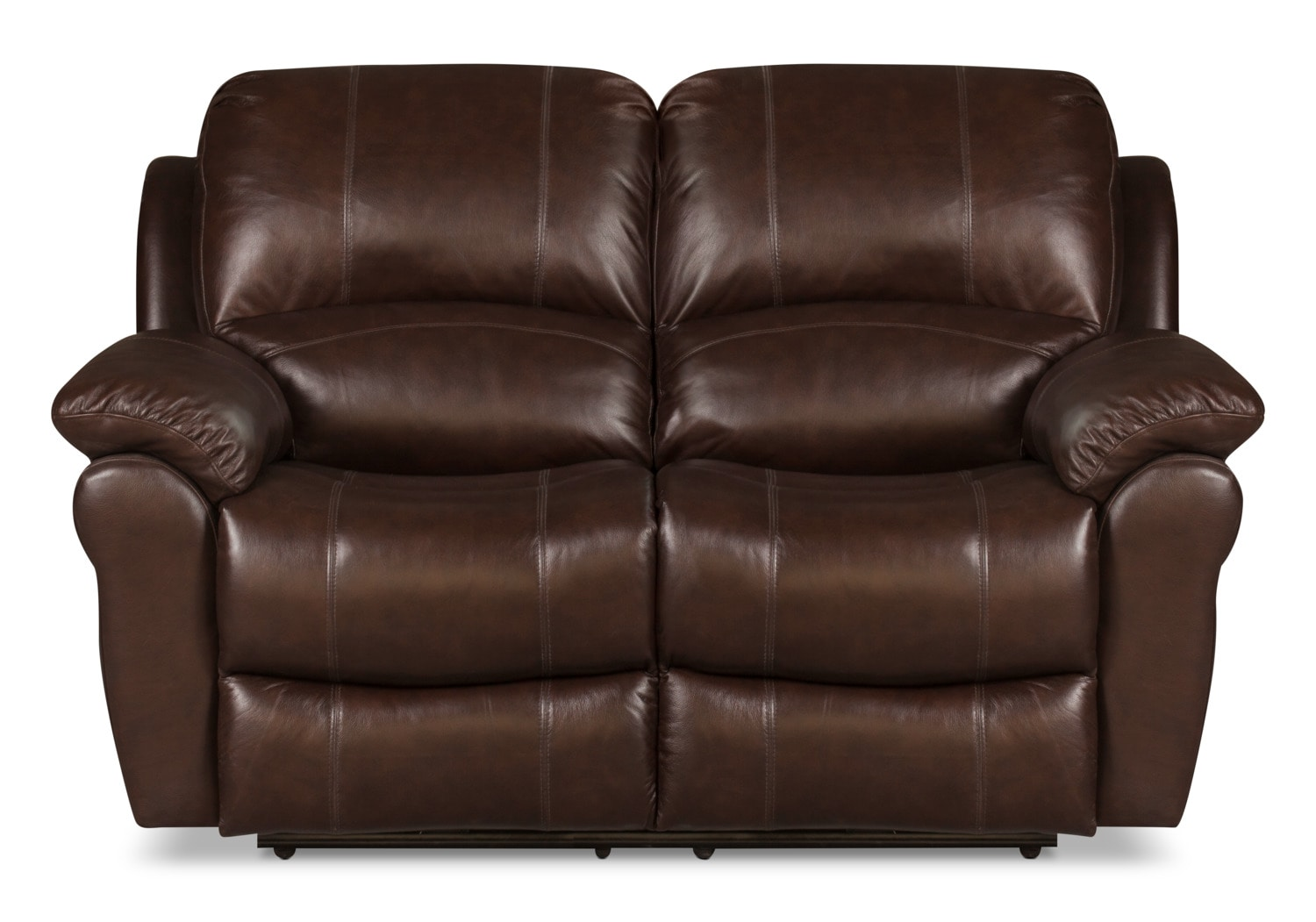 Living Room Furniture - Kobe Genuine Leather Reclining Loveseat – Brown