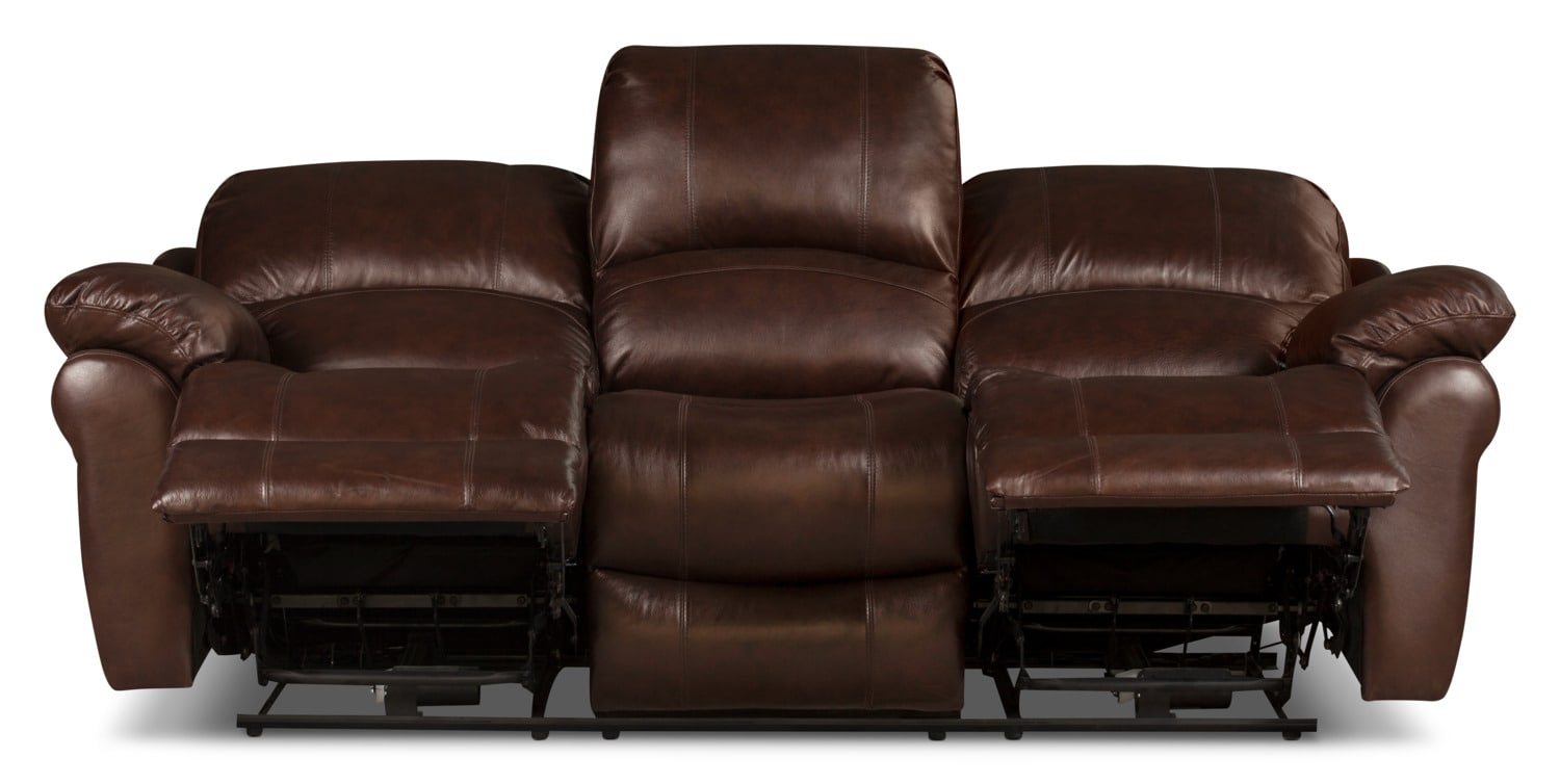 Kobe genuine leather power reclining sofa brown the brick for Real leather sofas