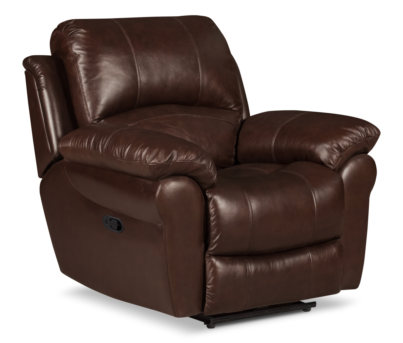 Living Room Furniture - Kobe Genuine Leather Reclining Chair – Brown
