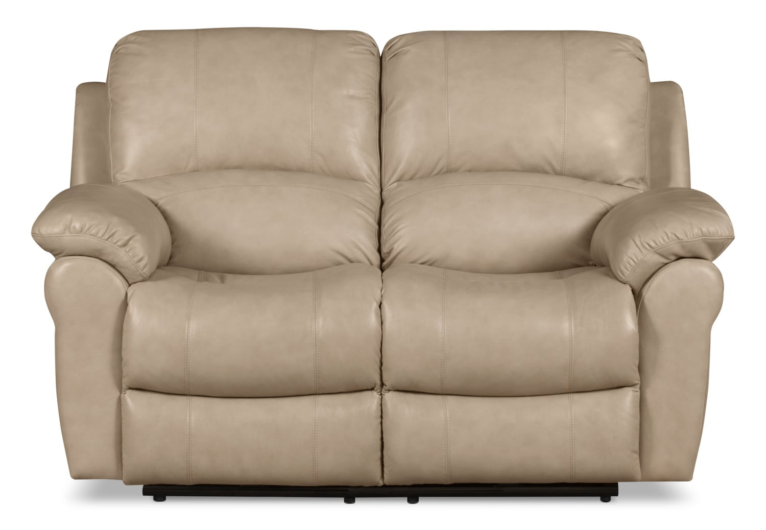 Kobe Genuine Leather Reclining Loveseat – Stone