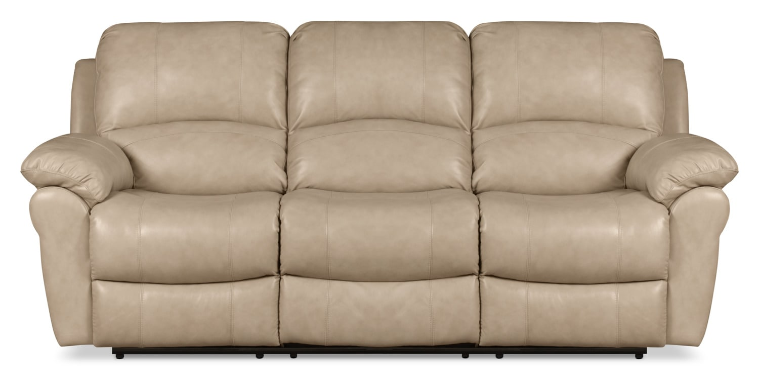 Kobe Genuine Leather Power Reclining Sofa – Stone