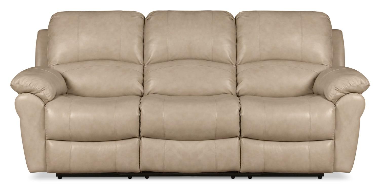 Mobilier de salle de séjour - Sofa inclinable Kobe en cuir véritable - pierre