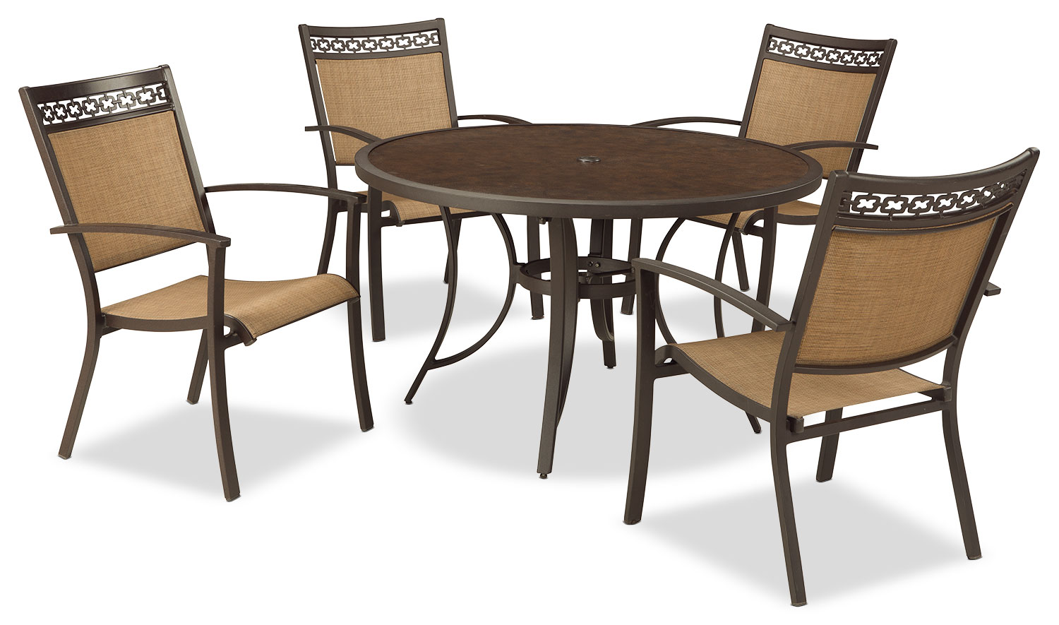 Carmadelia 5-Piece Patio Dining Set with Sling Chairs