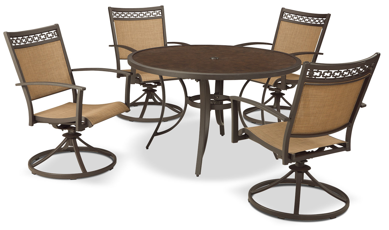 Carmadelia 5-Piece Patio Dining Set with Swivel Chairs