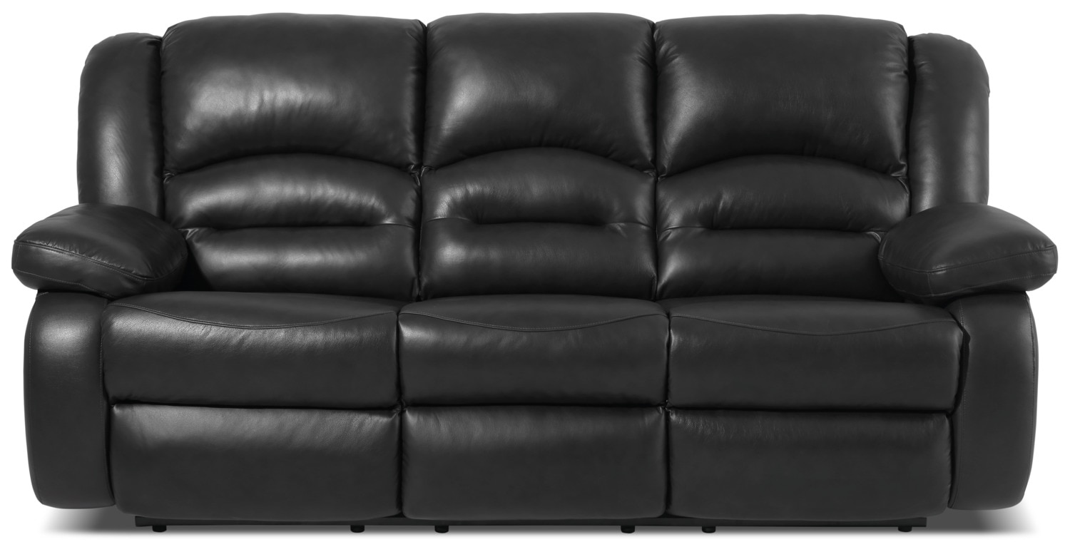 Living Room Furniture - Toreno Genuine Leather Reclining Sofa – Black