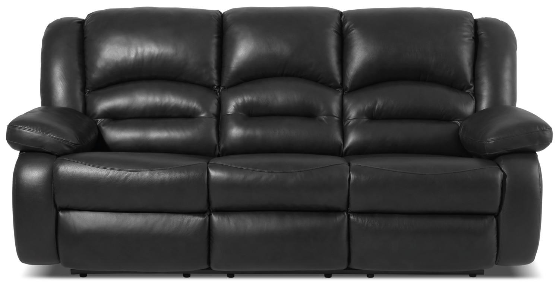 Living Room Furniture - Toreno Genuine Leather Reclining Sofa – Black