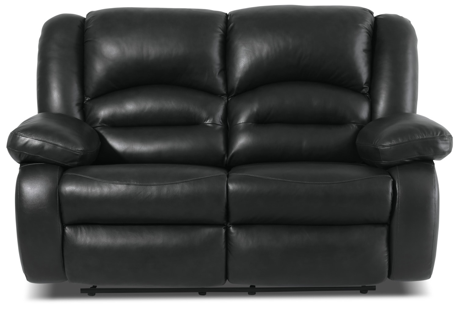 Living Room Furniture - Toreno Genuine Leather Reclining Loveseat – Black