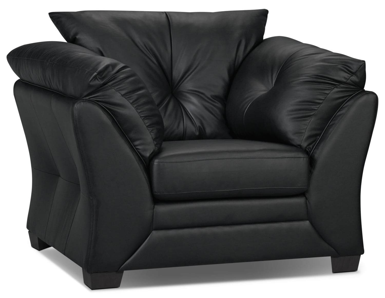 Black Faux Leather Chair: Max Faux Leather Chair - Black