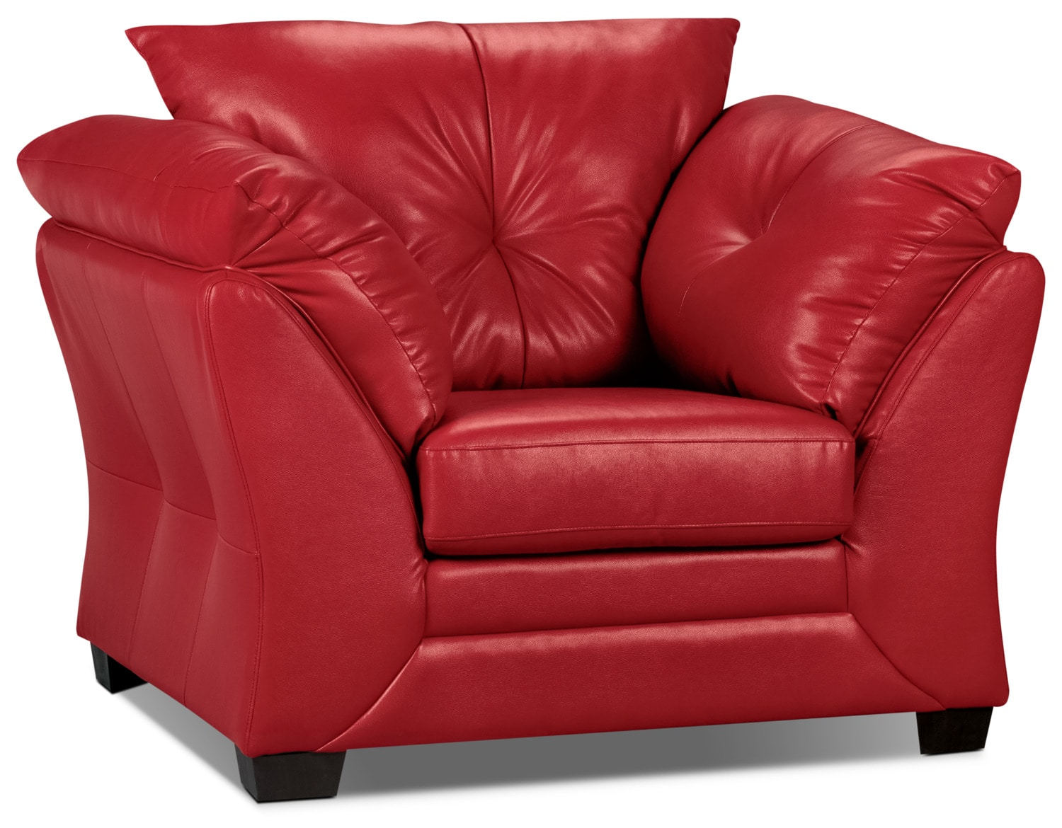 Living Room Furniture - Max Faux Leather Chair - Red